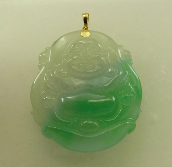 Green Jade Buddha Pendant 14k Yellow Gold Bail