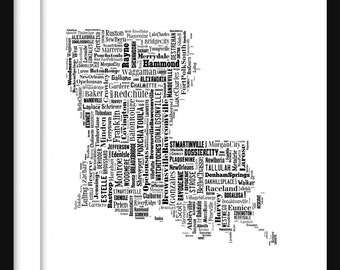 Louisiana Map Typography Map Poster Print