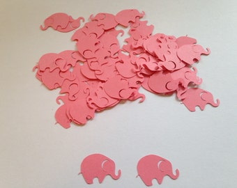 100 Dark Pink Coral Elephant Confetti Elephant Cutout Punch Die Cut Embellishment Scrapbook