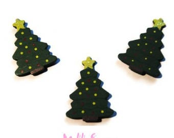 Set of 5 wooden Christmas tree stickers scrapbooking card making *.