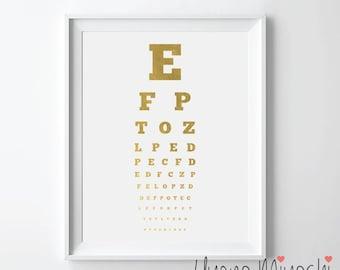 Snellen Eye Chart Gold Foil Print, Gold Print, Custom Print in Gold, Illustration Art Print, Eye Chart, Eye Test Chart Gold Foil Art Print