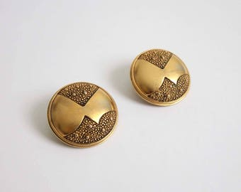 VINTAGE Earrings Big Round Gold Monet Clip Ons 1980s