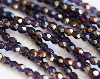 4mm Dark Tanzanite Twilight Firepolished beads - Czech Glass Beads - Bead Soup Beads