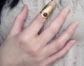 Knuckle Ring Calais BoHo Ring Armor Ring with Dragon's Breath Mexican Opal Glass Stone