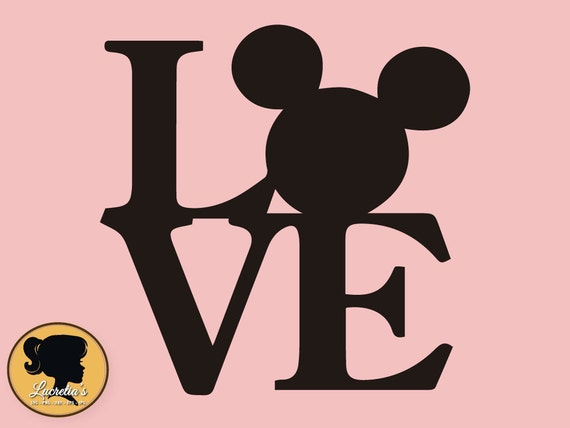 Mickey Love Svg Peace Love Silhouette Mickey Love Mouse