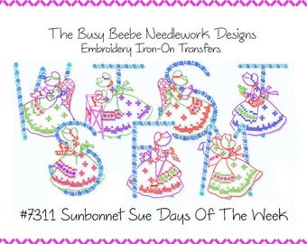 Sunbonnet Sue Days Of The WeeK Embroidery Transfer Kitchen Towel Motifs  #7311