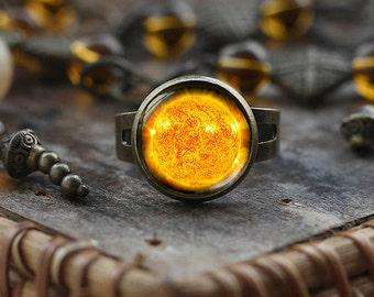 Sun ring, Planet sun ring, Galaxy ring, Universe ring, Space ring, boho sun jewelry, men's ring, glass dome ring, Adjustable Ring