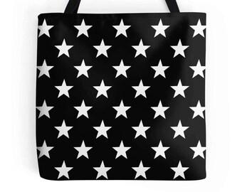 Stars Bag, Star Tote, Star Purse, Star Bag, Stars Bookbag, Black White Star Bag, Stars Tote, Star Accessories, Stars Purse, Stars Handbag