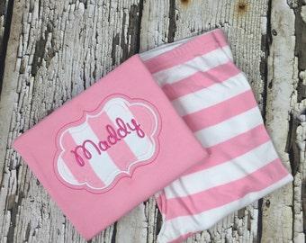 Personalized Pink Pajamas - Pink Pjs - Any Day Pajamas - Valentines Pajamas