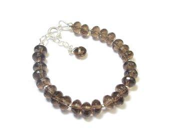 Bracelet Quartz smoky quartz - stone and 925