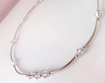 Clear AB Crystal Sterling Silver Necklace Swarovski Elements Minimalist Jewelry Dainty Tube Necklace Clear AB Crystal Gift for Her