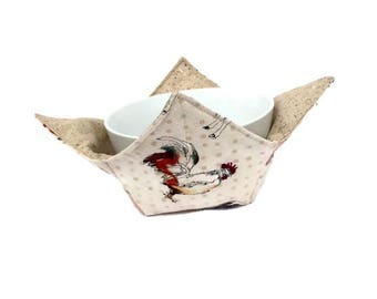 Barnyard Animals Bowl Cozy, Reversible Soup Bowl Potholder, Farm Kitchen Bowl Hot Pad, Farm Animals, Rooster, Cow, Pig