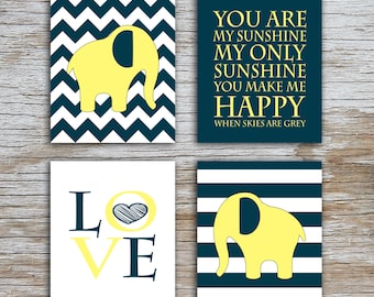 Kids (D) - You Are  My Sunshine - Elephant - Dark Teal Yellow - 4 Parts - (Digital Download, Instant Download, Printable)