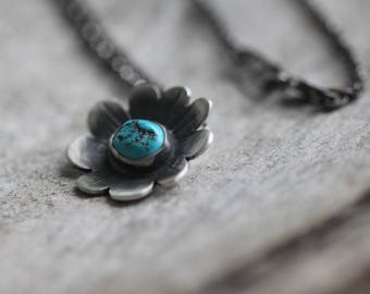 Turquoise Nugget Wildflower Necklace No. 1 - Flower Necklace - Turquoise Necklace - Artisan Necklace - Sleeping Beauty Turquoise Necklace