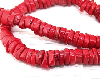 """One Full Strand ---- Heishi Red Coral Beads----7-8mm-- gemstone beads--- 15.5"""" in length"""