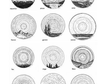 Zodiac Constellations - Star Trails Landscapes Wall Art Print, Star Themed Art, Pen and Ink Night Sky Drawing, Astrology and Astronomy
