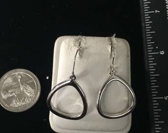 Vintage Sterling Silver  Hollow Stirrup Earrings - AB
