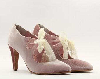 Velvet pink shoes Velvet heels Women shoes Pumps Pink velvet shoes Pink shoes Velvet shoes Velvet women Pink pumps Leather heels Brautschuhe