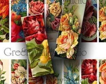 INSTANT DOWNLOAD Vintage Flowers Illustrations Roses Plants Digital Images Sheet for Pendants Microscope Slides 1 x 3 (M29)
