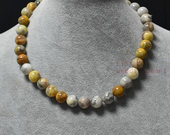 10mm Beautiful multicolor agate necklace,single strand yellow white agate necklace,statement necklace, women necklace,real stone necklace