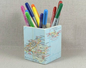 Custom world map etsy custom world map pencil pot fathers day wanderlust gift pencil holder desk gumiabroncs Images