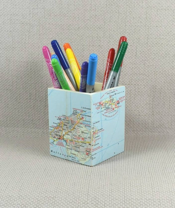 Custom world map pencil pot mothers day wanderlust like this item gumiabroncs Image collections