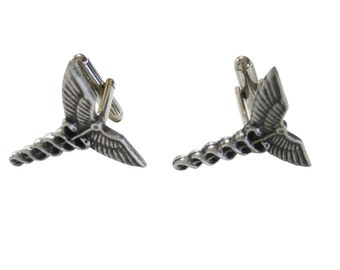 Textured Medical Symbol Caduceus Cufflinks