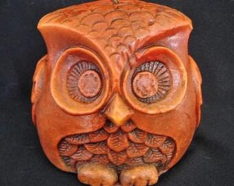 Authentic Large 1970s Orange Owl Candle
