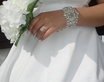 Bridal Cuff, Wedding Jewelry, Bridal Accessories, Bridesmaid Gift, Rhinestone Bracelet, Statement Jewelry, Cuff, Quinceanera  -Estrella