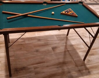 Vintage Burrows Mini Folding Pool Table, Portable Miniature Billiards Table