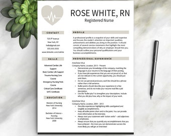 Nurse Resume Etsy - Registered nurse resume template free