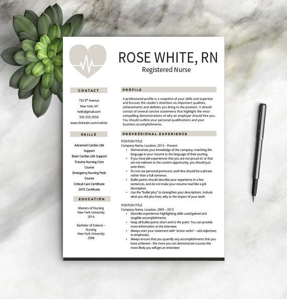 Nurse Resume Template + Free Cover Letter | Nurse Resume | Nurse CV | One U0026  Two Page Resume Templates | Nursing Resume | INSTANT DOWNLOAD