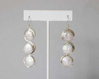 Triple White Coin Pearl Sterling Hook Earring