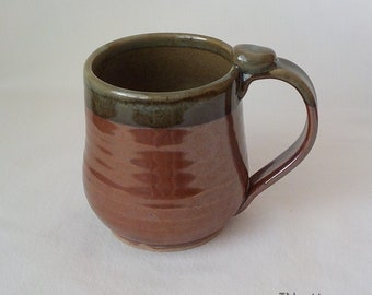 Stoneware Mug - Ceramic Coffee Cup - Handmade Pottery - 14 Ounce Cup - Ready to Ship - Thumb Rest  - Iron Red - Celadon Rim and Inside  m315
