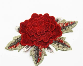3D Flowers Patch Applique ,Red Floral Applique,High Quality Floral Applique. Sewing supplies. Embroidered Applique