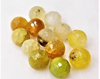 Golden agate beads; hard to find, gorgeous Golden Agate, semiprecious gemstone, faceted rounds, 10mm, 13pcs/2.80