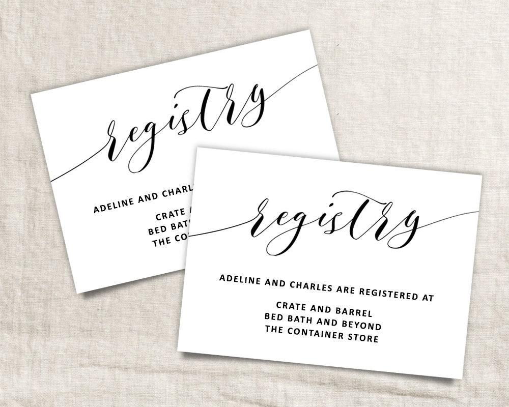 Wedding Registry List: Printable Wedding Registry Card Wedding Info Card Template