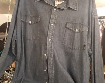 Mens Vintage Denim Long Sleeve Button Up Casual Shirt Size XXL