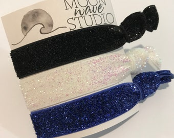 3 Glitter hair ties, elastic ponytail holders, gentle bracelets