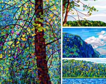 Summer 3 - fine art print note card landscape cottage sky lake blue