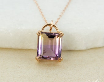 AAA Grade Purple Ametrine Necklace - 4 Prong Set Purple Ametrine Pendant - 14Kt Rose Gold Filled