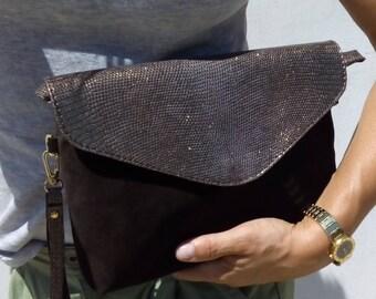 Nubuck and suede and python Python clutch bag