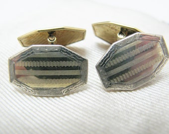 a438 Vintage Eight Sided Two Tone Etched Cuff links by S & C
