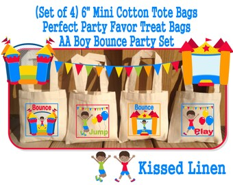 African American Fun Bounce House Jump Play Birthday Party Treat Favor Gift Bags Mini Cotton Mini Totes Children Girls Boys