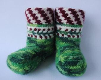Crochet Booties, Booties Women, Wool Socks, Felted Wool Socks, Available in Women's Medium and Large, Wife Christmas Gift, Christmas Booties