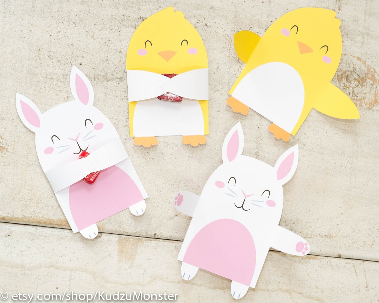 Printable easter candy huggers bunny and chick party favor zoom negle Gallery