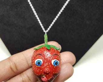Chocolate dipped strawberry Valentine's character necklace