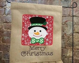 Burlap Garden Flag Merry Christmas Snowman