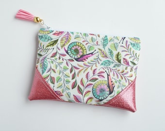 Pink Snail Glitter Mini Zip Pouch, Coin Pouch, Coin Purse, Card Holder, Gifts for Her, Gifts for Teens,  Grey, Wristlet