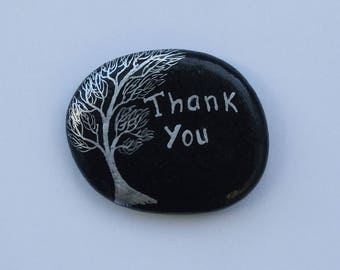 Thank You Gift, Unique Thank You Painting on Rock, Tree Stone, Hand Painted Thank You Pebble, Stone Painting, Silver Tree Thank You Art Gift
